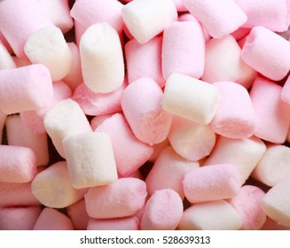 White and pink mini marshmallows, top view