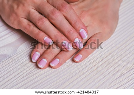 White Pink Nail Art On Wooden Stock Photo Edit Now 421484317