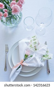 White Pink Table Setting
