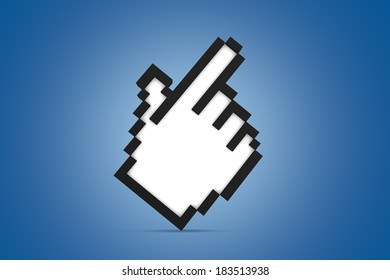 White pixeled computer mouse hand cursor icon standing on blue background.