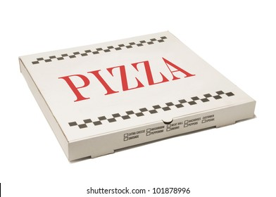 White pizza delivery box isolated against white background
