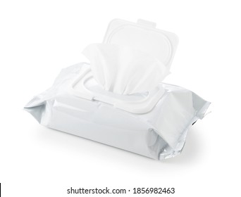 White plain wet wipes placed on a white background - Shutterstock ID 1856982463