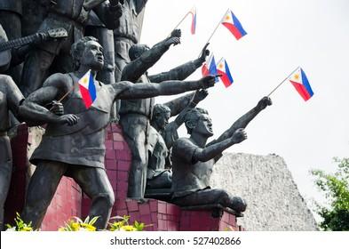 White Plains Ave, Quezon City, Metro Manila, Philippines - February 2016: EDSA People Power Monument
