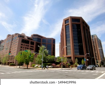 White Plains, NY - May 16 2013: Exterior of the Westchester Financial Center office complex