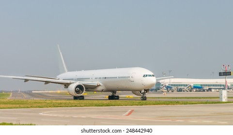 White plane in airport