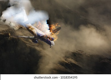 White plane with engine on fire about to crash in the landscape burning mountains