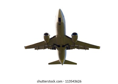 white plane with gear and two jet engines, isolated on white background