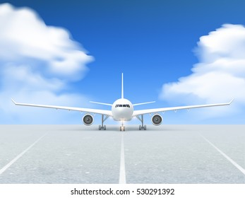 White plane prepares to take off from the runway poster at a realistic blue background and pavement  illustration
