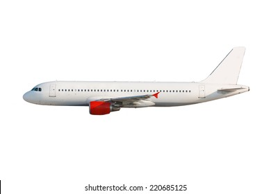 White plane with red engines on white background