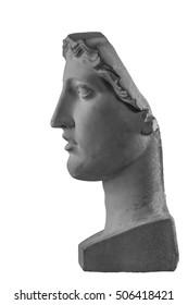 White plaster bust sculpture portrait.
