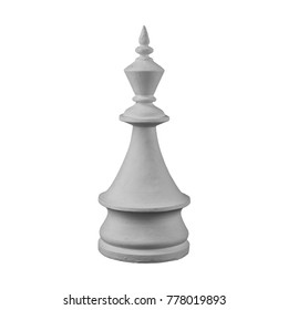 white plaster chess piece on an isolated background