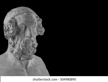 White plaster statue of the bust of the philosopher Homer