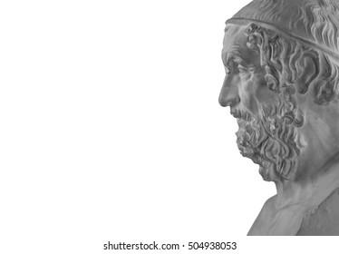 White plaster statue of the philosopher Homer