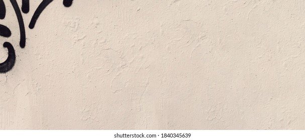 White plaster stucco urban wall structure empty grunge background. City concrete masonry wall with rough shabby stucco layer isolated texture. Wide angle banner for web design with copy space.
