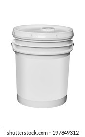 White plastic 5 gallon paint container with blank label, isolated with clipping path