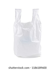 White plastic bag isolated on white background