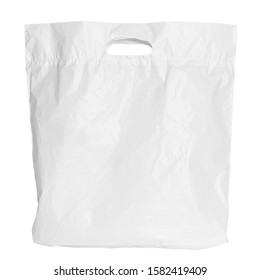 White Plastic Bag isolated On White Background, Clipping path