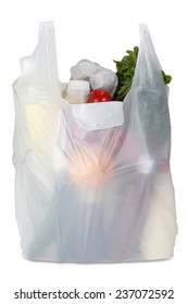 White plastic bag on white background. Clipping path included.