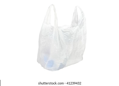 white plastic bag under the white background