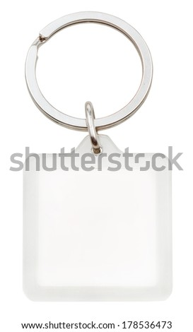 White Plastic Blank Square Keychain On Stock Photo (Edit Now