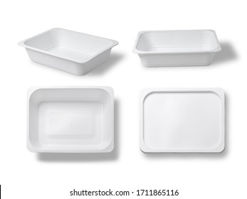 White plastic box for your design and logo, this can be used with a microwave oven. Mock Up. with clipping path