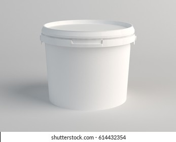 White Plastic Bucket. 3D Render