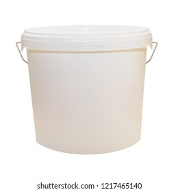 White plastic bucket for food products, paint. 900 ml, 5 kg. The selected path. Packaging mockup template. Front view, handle up. Isolated on white background.