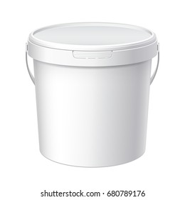 White plastic bucket with White lid. Product Packaging For food, foodstuff or paints, adhesives, sealants, primers, putty. MockUp Template For Your Design.  3D illustration