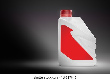 White plastic canister with blank red label on a black gradient background