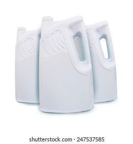 White plastic canister   bottle   Jerrycan   jug   pack   isolated