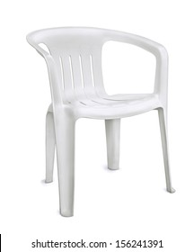White plastic chair isolated on white