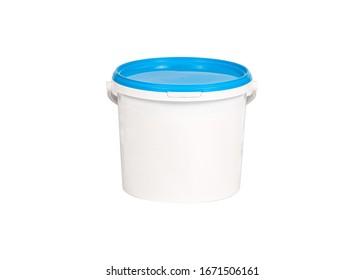 White plastic closed bucket isolated on white background