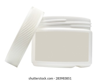 White plastic container with a blank label isolated on white background.