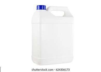White plastic container blue cap on white background with clipping path