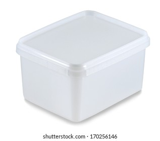 white plastic container isolated on a white background with a clipping path