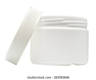 White plastic container isolated on white background.
