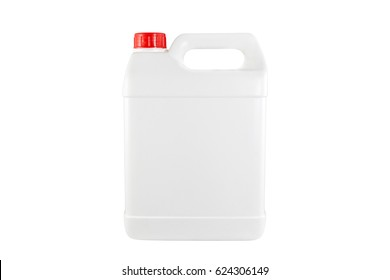 White plastic container red cap on white background with clipping path