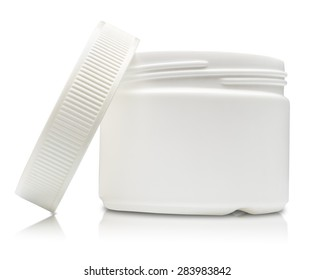 White plastic container with reflection isolated on white background.