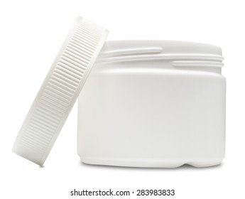 White plastic container with shadow isolated on white background.