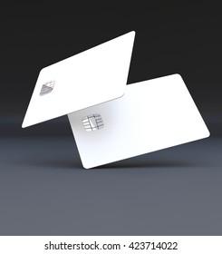 White plastic credit cards, Mockup, dark,black background,3D rendering