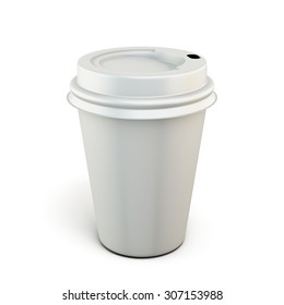 White plastic cup of coffee on a white background. Plastic cup for your design. 3d render image.