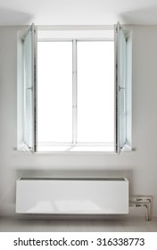 White plastic double door window with radiator under it. Domestic room. Isolated window aperture