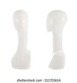 White plastic faceless mannequin head with the long neck, isolated over the white background, set of two foreshortenings