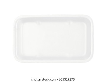 White plastic foam food packing tray plate isolated over the white background