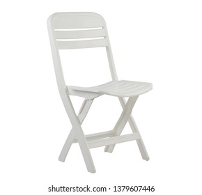 white plastic folding chair isolated on white background