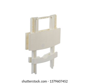 white plastic folding table isolated on white background