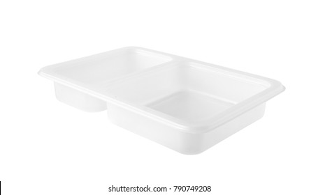 White Plastic Food Tray Two Compartments isolated on white background with clipping paths