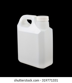 White plastic gallon,isolated on black background
