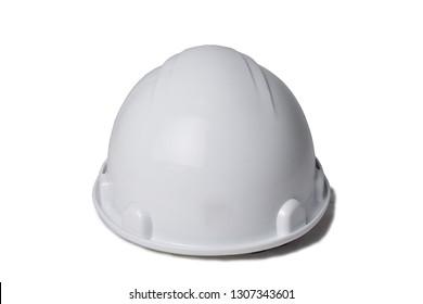 White plastic helmet on a white background