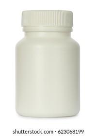 White plastic jar for drugs isolated on white background